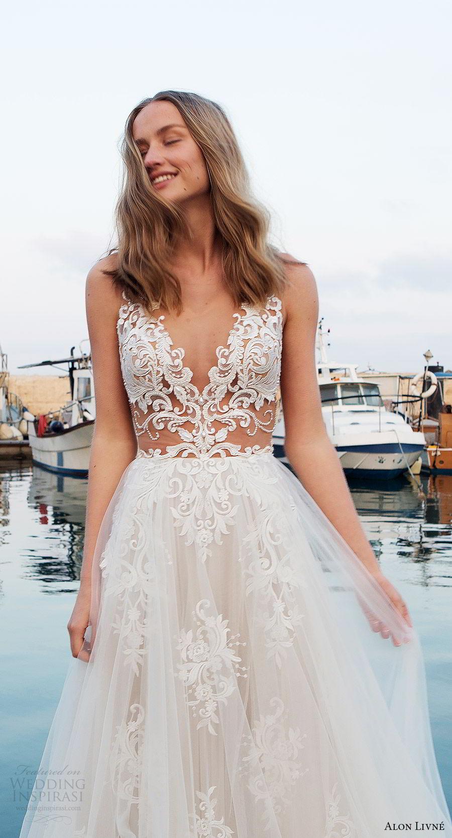 alon livne white pre 2018 bridal sleeveless v neck beaded sheer bodice lace a line wedding dress (christine) zfv sexy romantic