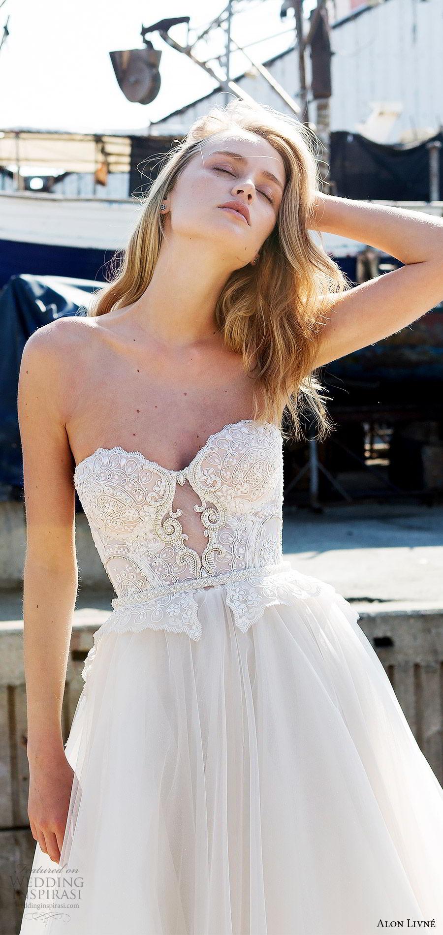 alon livne white pre 2018 bridal strapless sweetheart beaded bodice ball gown wedding dress (anastasia) fv romantic train