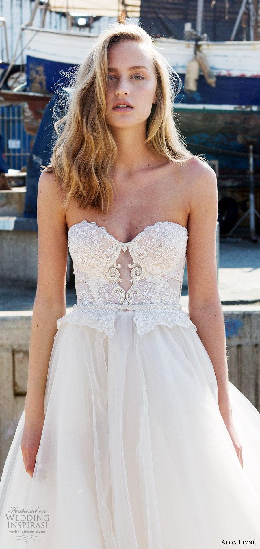 alon livne white pre 2018 bridal strapless sweetheart beaded bodice ball gown wedding dress (anastasia) mv romantic train