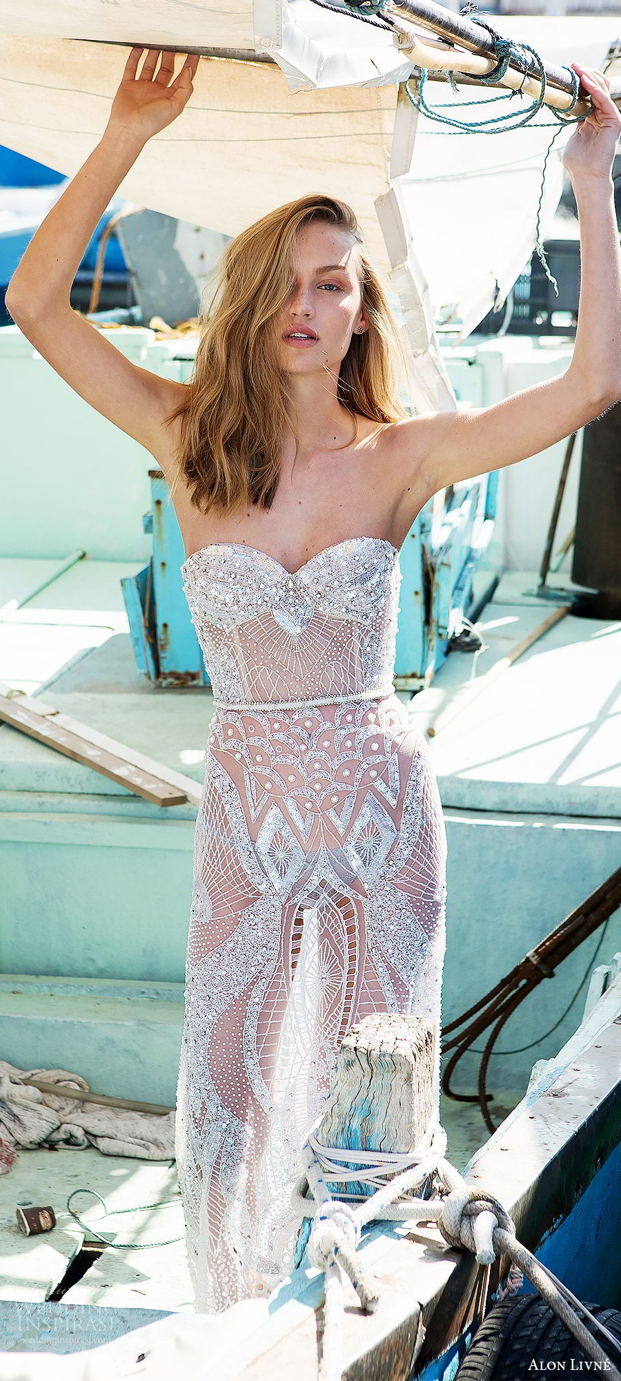 alon livne white pre 2018 bridal strapless sweetheart heavily embellished sheer sheath wedding dress (alexandra) mv glam boho