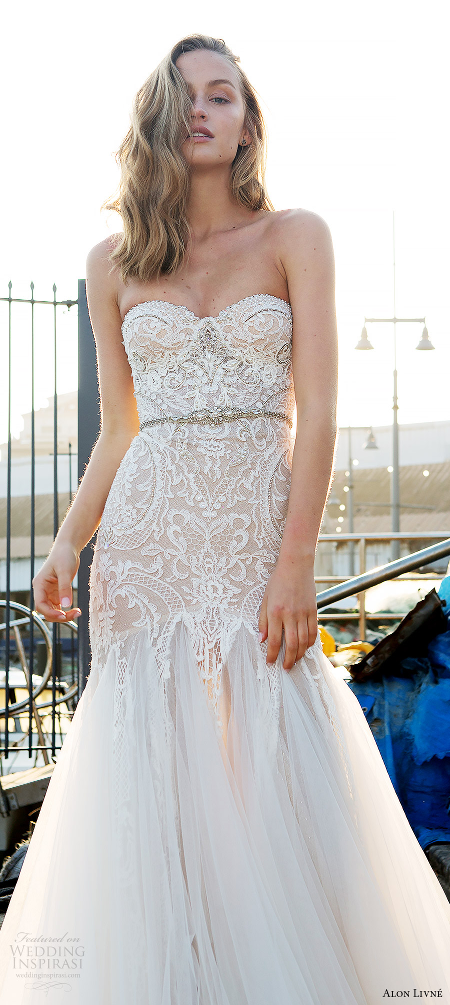 alon livne white pre 2018 bridal strapless sweetheart lace bodice fit flare wedding dress (helen) fv glam