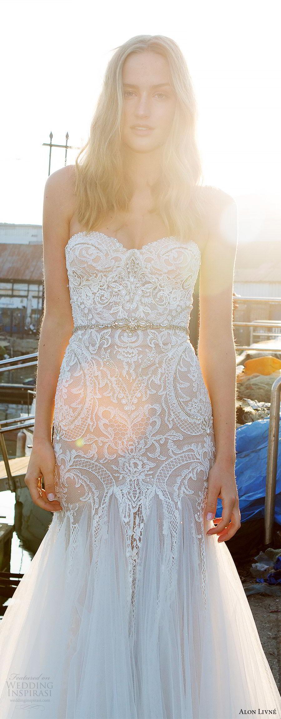 alon livne white pre 2018 bridal strapless sweetheart lace bodice fit flare wedding dress (helen) mv glam