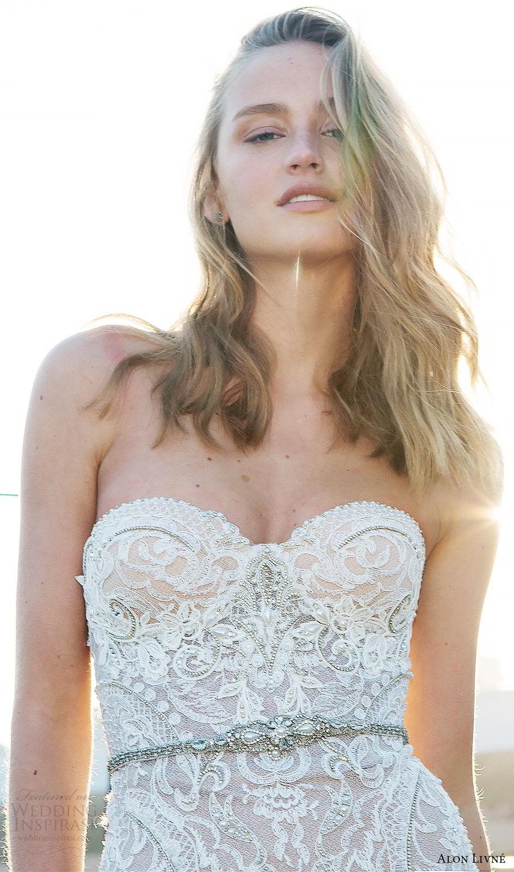 alon livne white pre 2018 bridal strapless sweetheart lace bodice fit flare wedding dress (helen) zfv glam