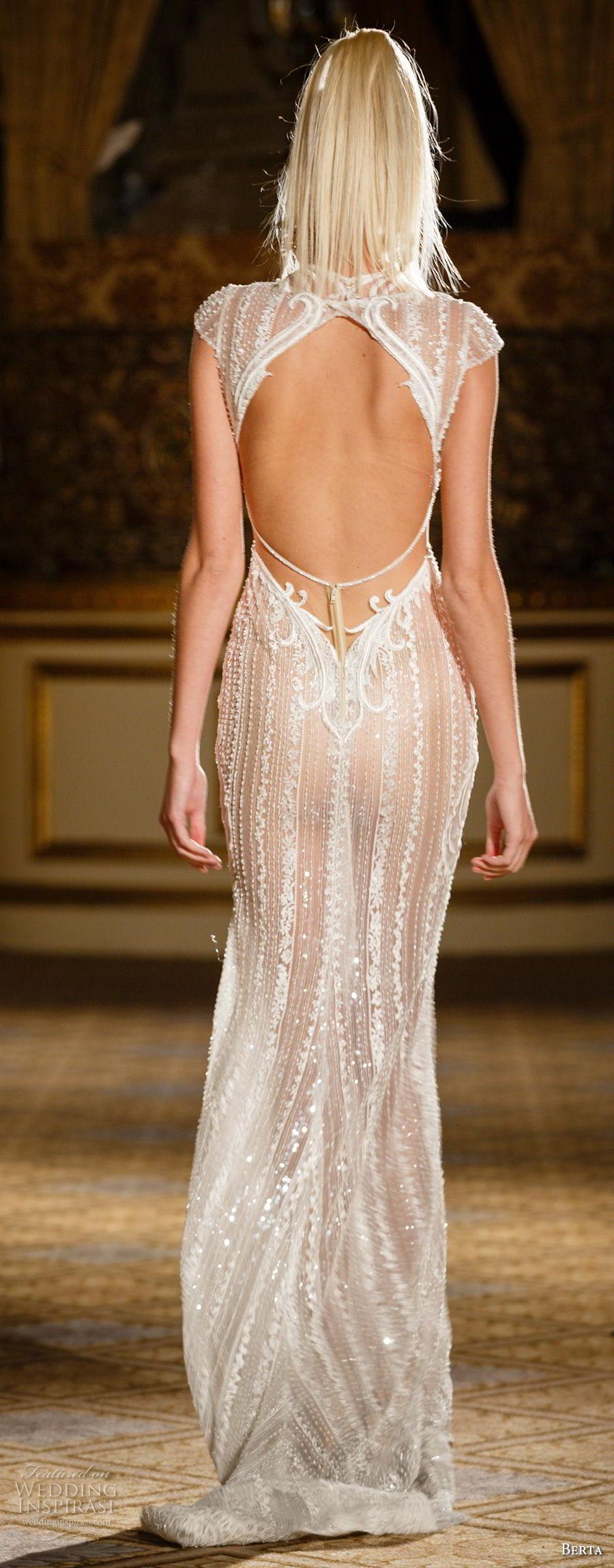berta spring 2018 bridal cap sleeves deep plunging v neck full embellishment elegant sexy glamorous sheath wedding dress keyhole back sweep train (07) bv