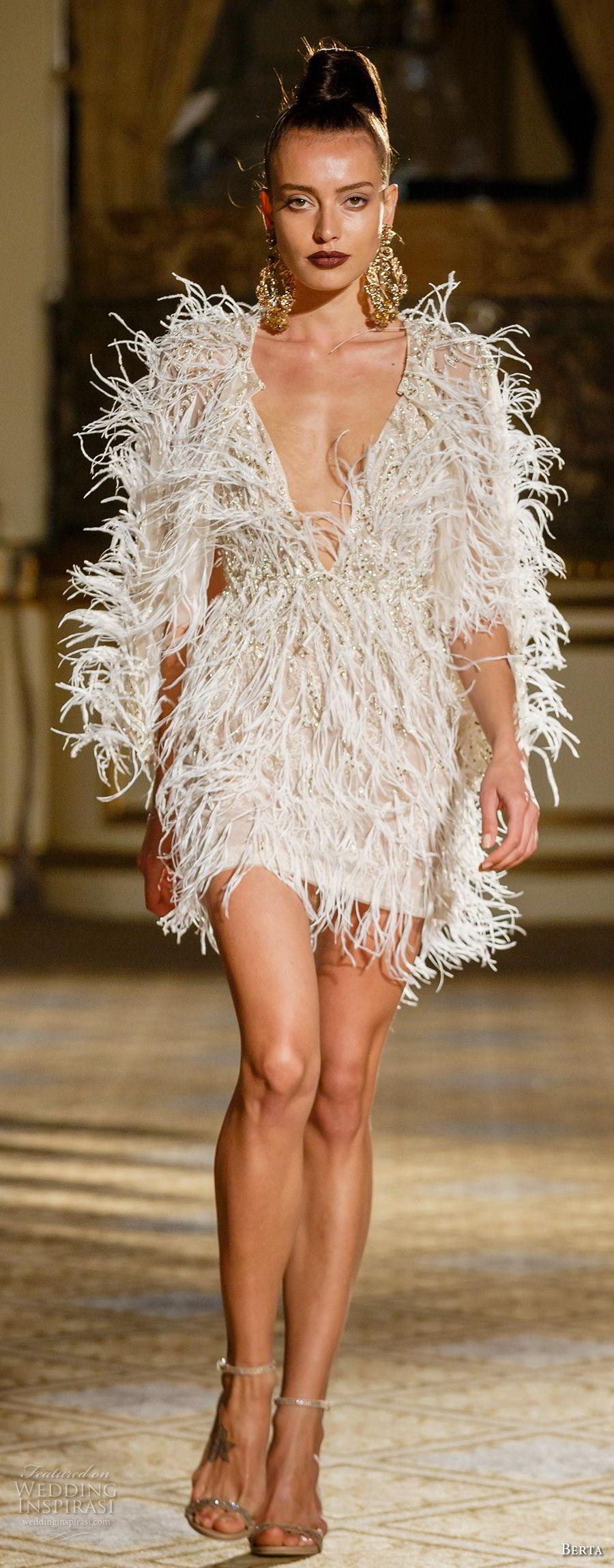 berta spring 2018 bridal half sleeves deep plunging v neck full embellishment feathers mini skirt short wedding dress (20) mv