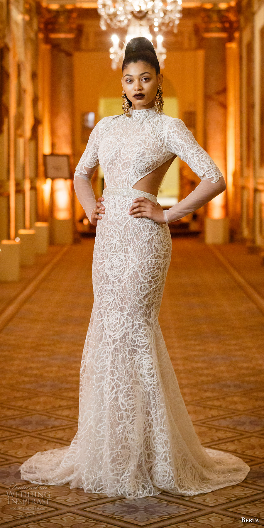 berta spring 2018 bridal long sleeves high neck full embellishment open side elegant sophiscated fit and flare wedding dress keyhole back sweep train (09) mv