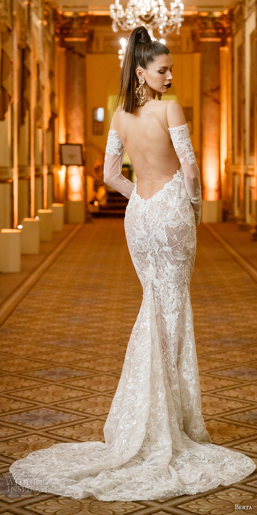 berta spring 2018 bridal long sleeves off the shoulder sweetheart neckline full embellishment elegant sexy fit and flare wedding dress open low back chapel train (02) bv