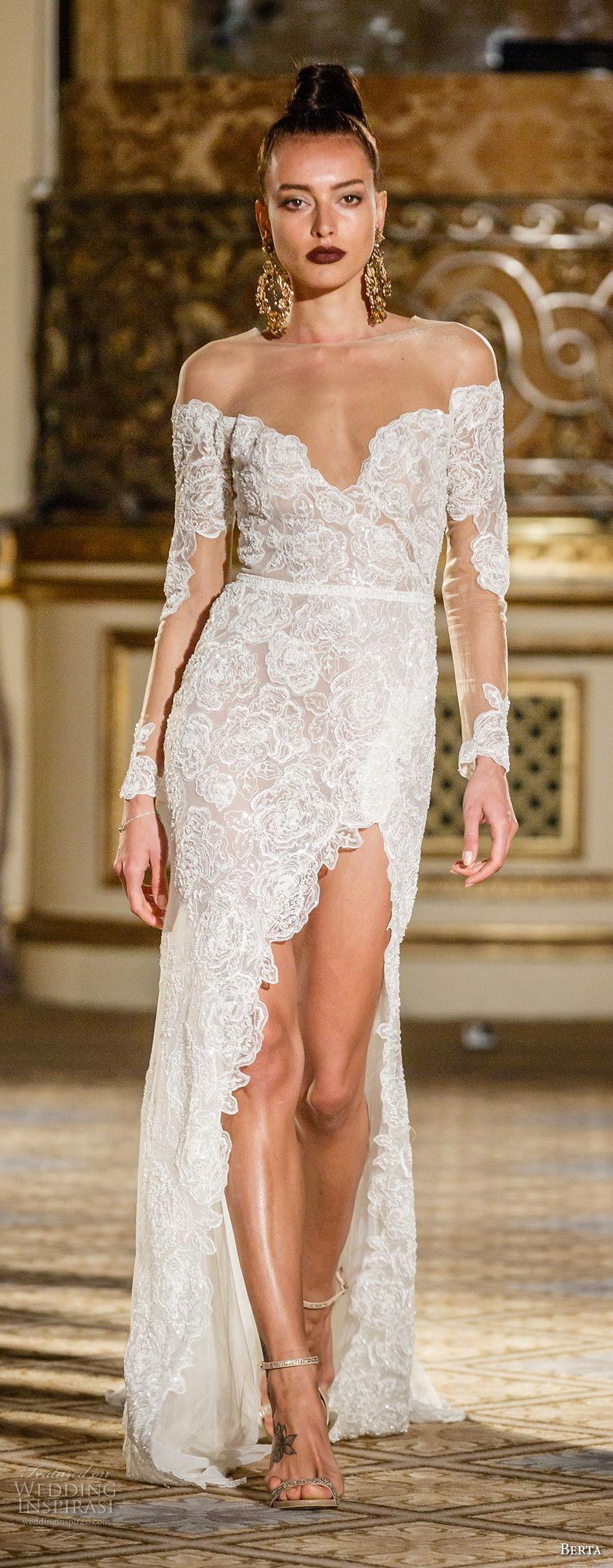 berta spring 2018 bridal long sleeves off the shoulder sweetheart neckline full embellishment side slit elegant sexy sheath wedding dress chapel train (08) mv