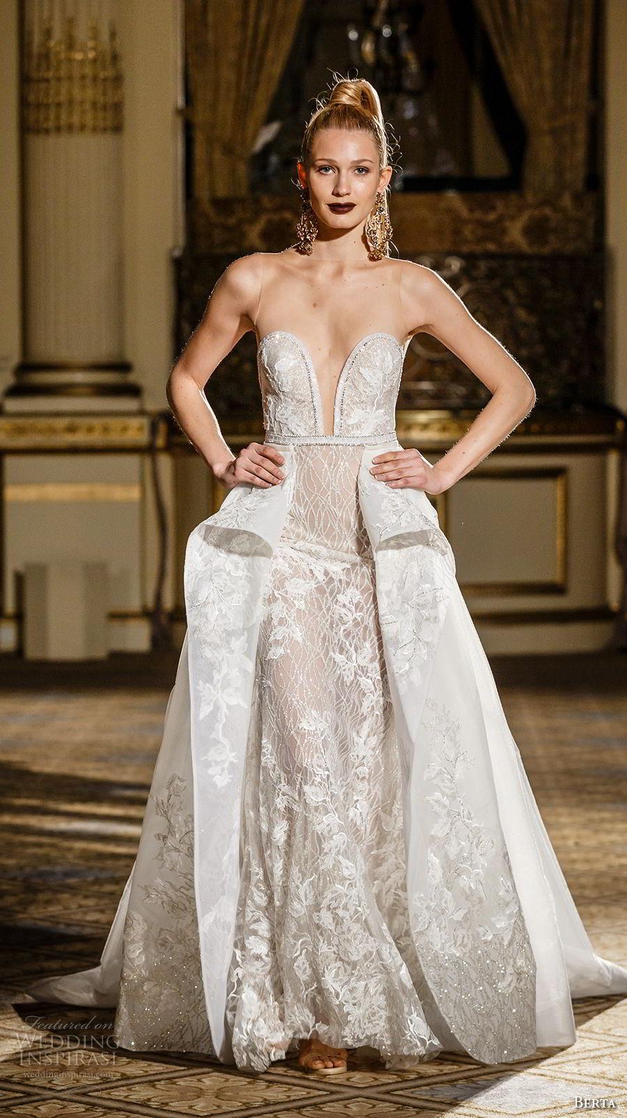 berta spring 2018 bridal sleeveless deep plunging sweetheart neckline full embellishment sexy glamorous sheath wedding dress ball gown overskirt long train (15) mv