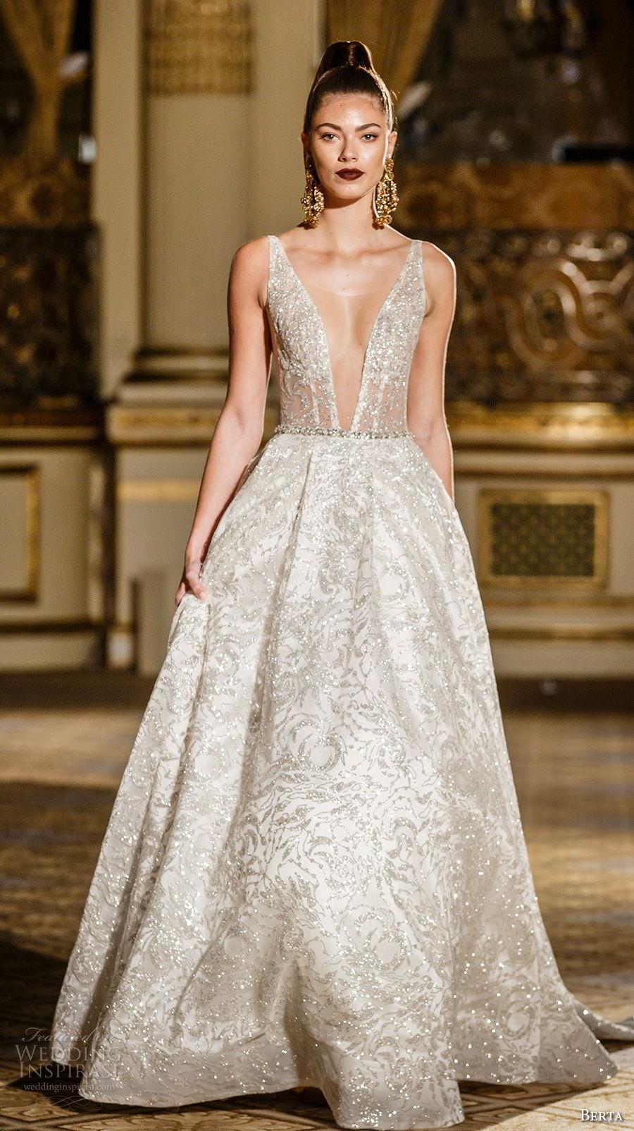 berta spring 2018 bridal sleeveless deep plunging v neck full embellishment glitter glamorous elegant a  line wedding dress open v back sweep train (12) mv