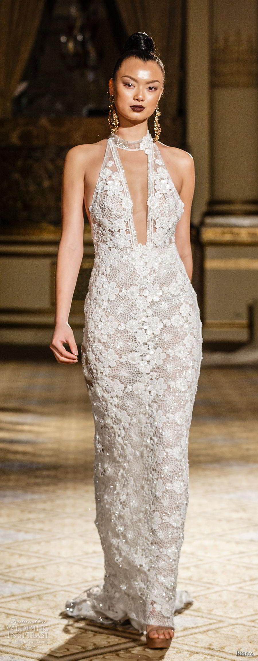 berta spring 2018 bridal sleeveless halter neck deep plunging v neck full embellishment elegant sexy sheath wedding dress open back short train (16) mv