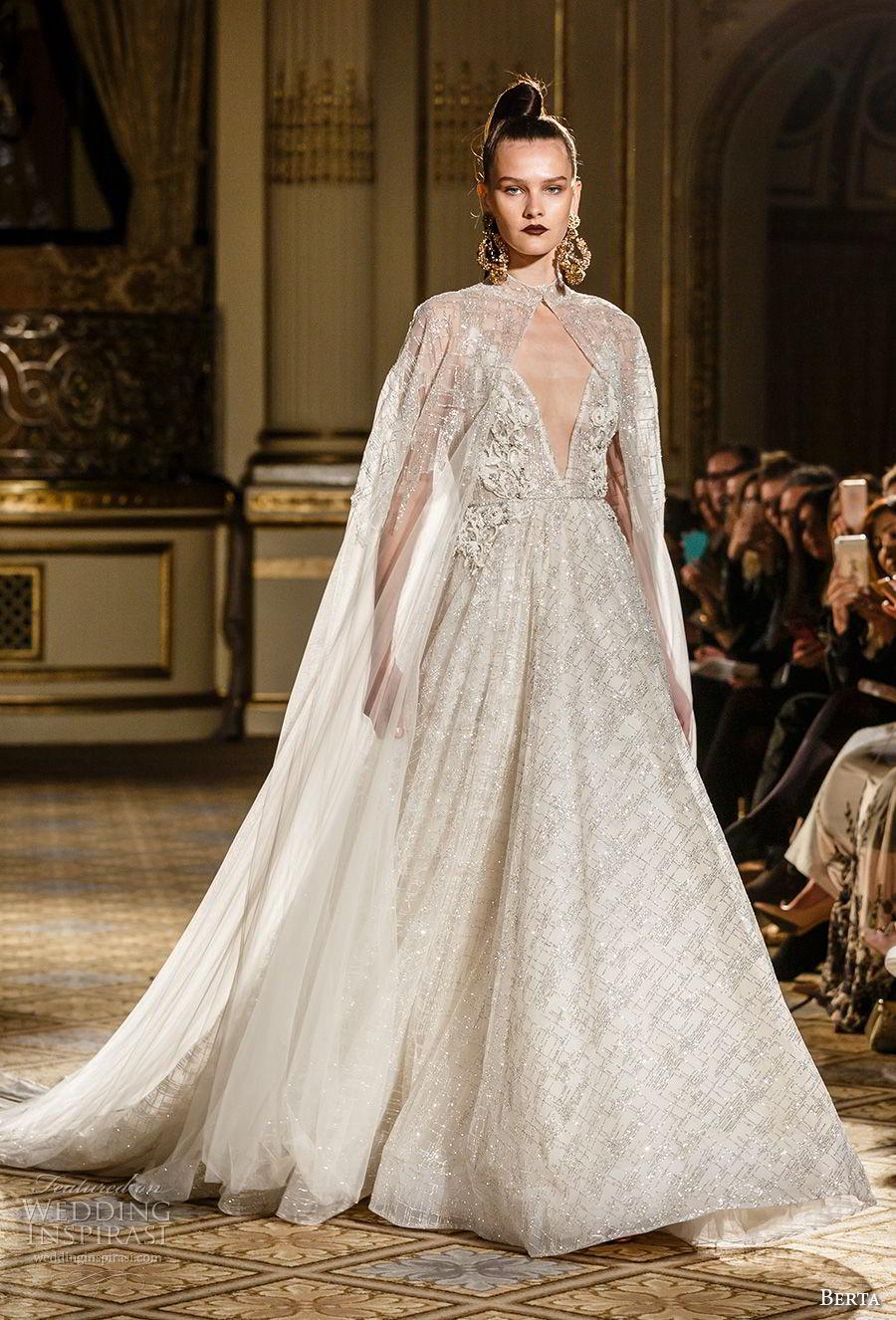berta spring 2018 bridal sleeveless spagetti strap deep v neck full embellishment glitter princess romantic a  line wedding dress with cape royal train (11) mv
