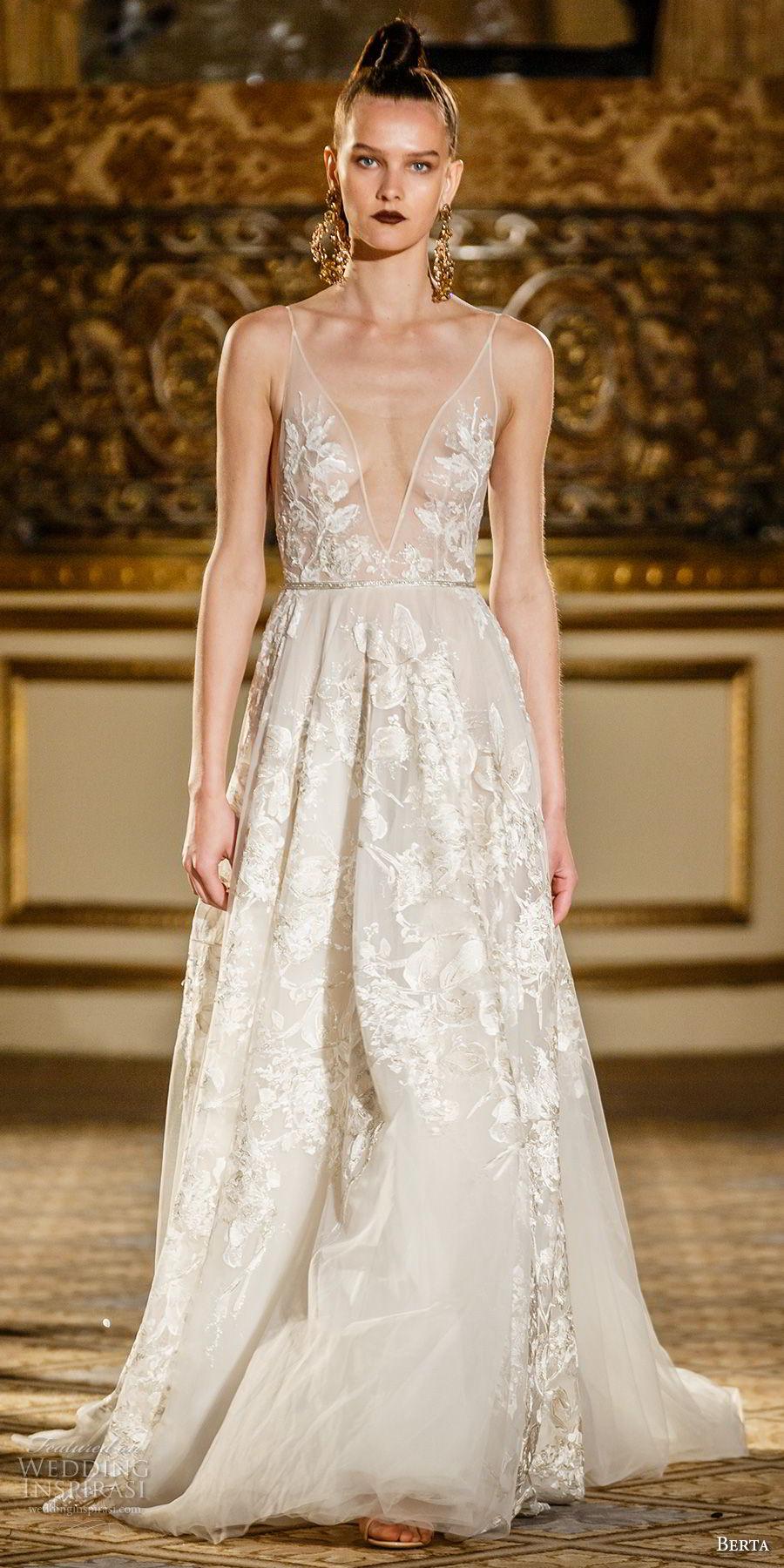 berta spring 2018 bridal spagetti strap deep plunging v neck full embellishment romantic sexy modified a  line wedding dress open back short train (03) mv