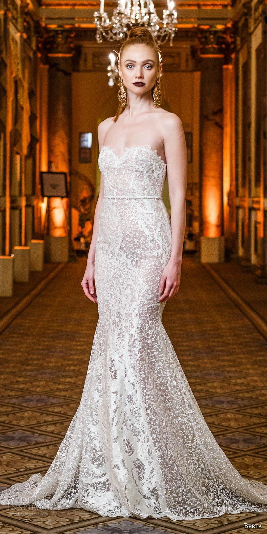 berta spring 2018 bridal strapless sweetheart neckline full embellishment elegant fit and flare wedding dress mid sheer back short train (17) mv