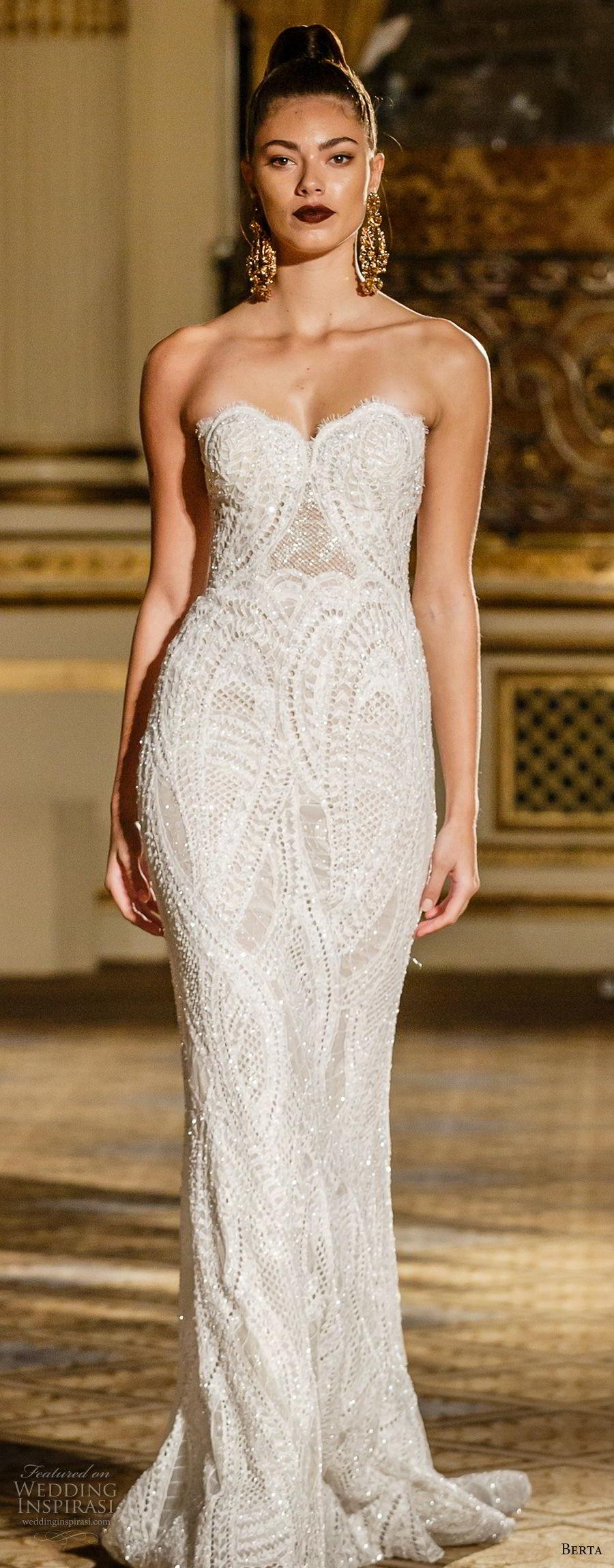berta spring 2018 bridal strapless sweetheart neckline full embellishment elegant fit and flare wedding dress short train (05) mv