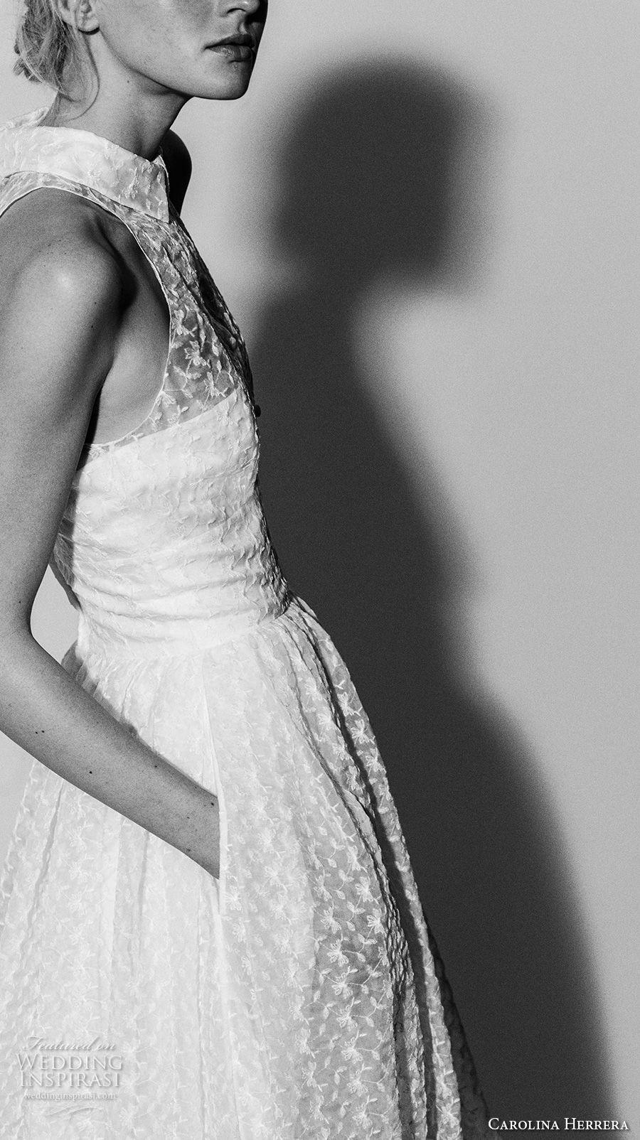 carolina herrera spring 2018 bridal sleeveless illusion halter neck collar straight across neck full embellishment a  line wedding dress with pockets (02) mv