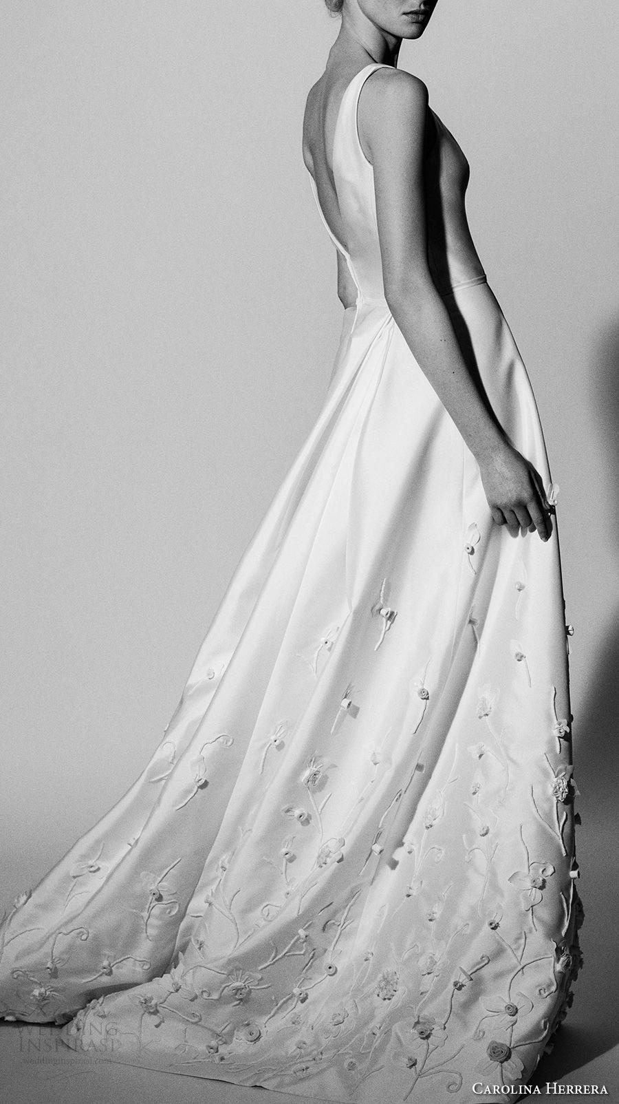 carolina herrera spring 2018 bridal sleeveless simple top heavily embellished skirt romantic elegant a  line wedding dress chapel train (12) mv