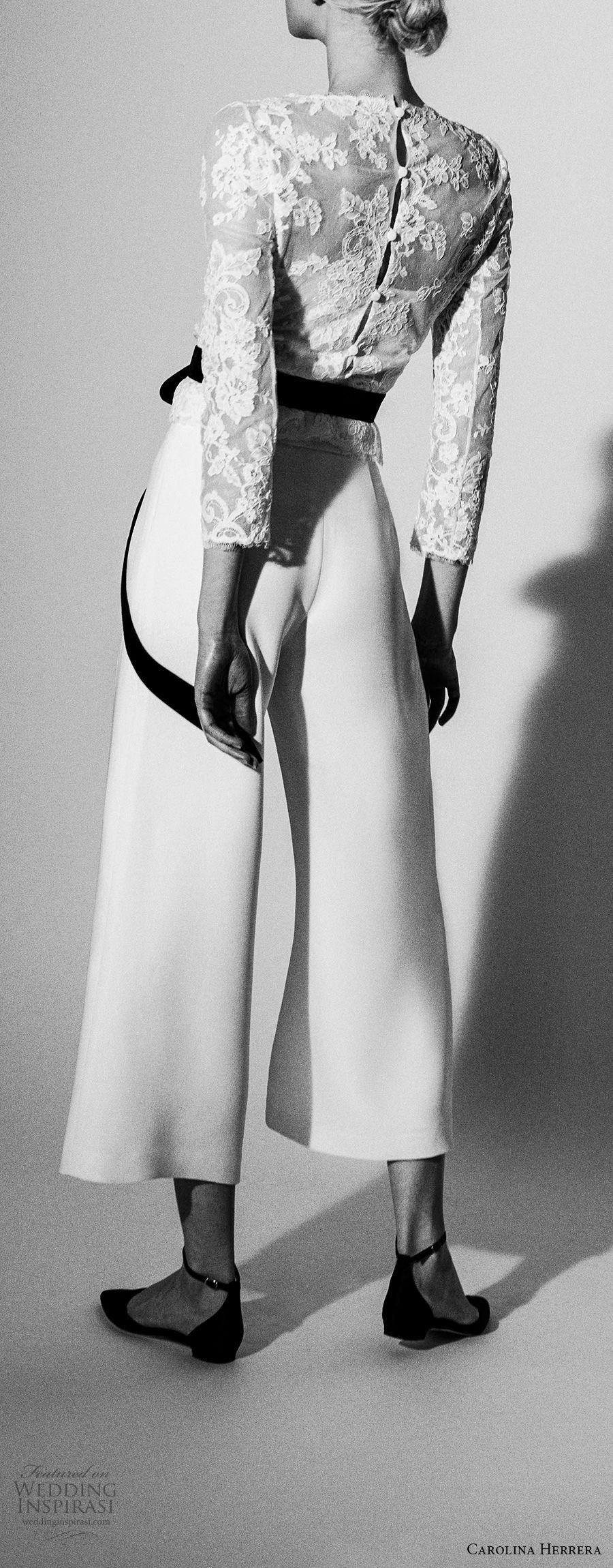 carolina herrera spring 2018 bridal three quarter sleeves heavily embellished lace bodice top capri palazzo pants wedding dress (14) mv