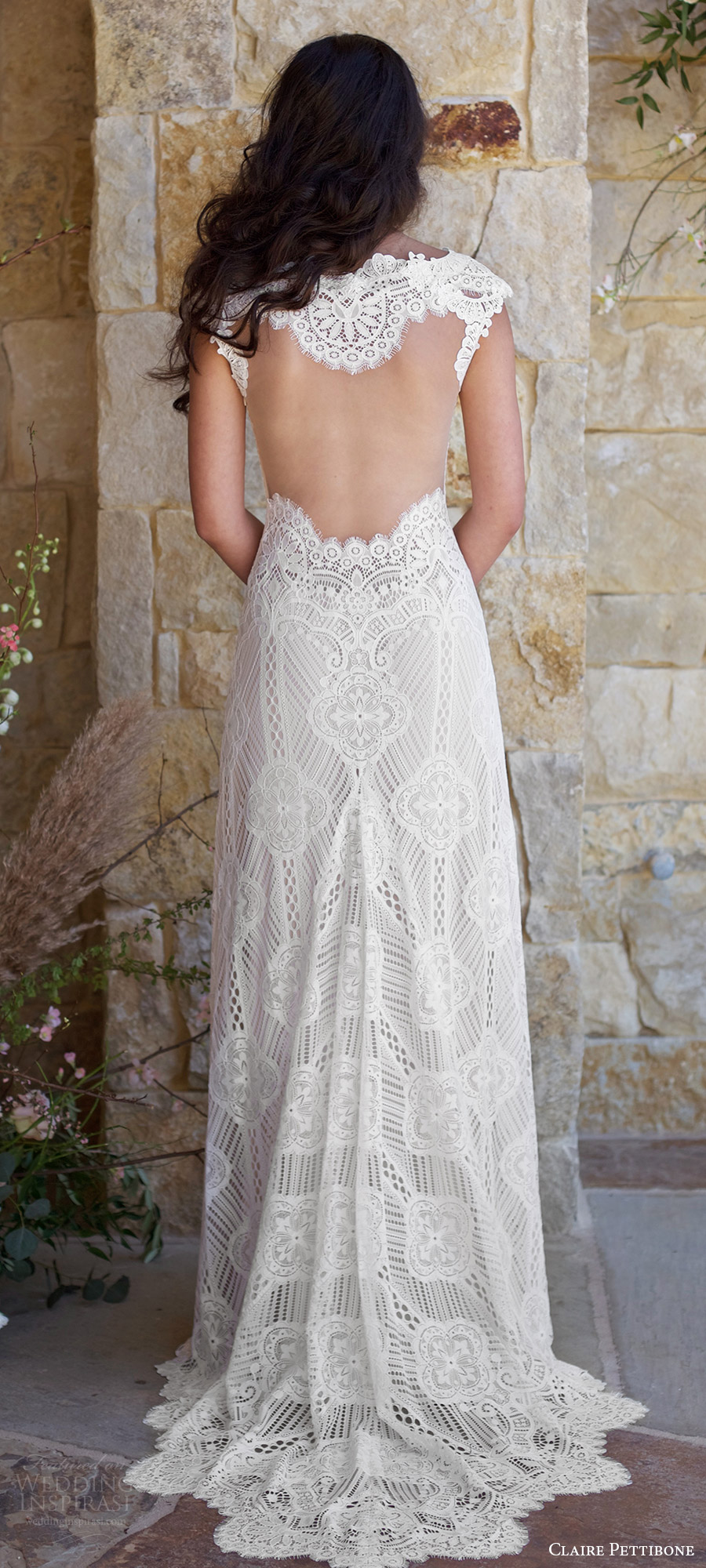 claire pettibone spring 2018 bridal cap sleeve sweetheart lace trumpet wedding dress (calistoga) bv illusion back train boho romantic