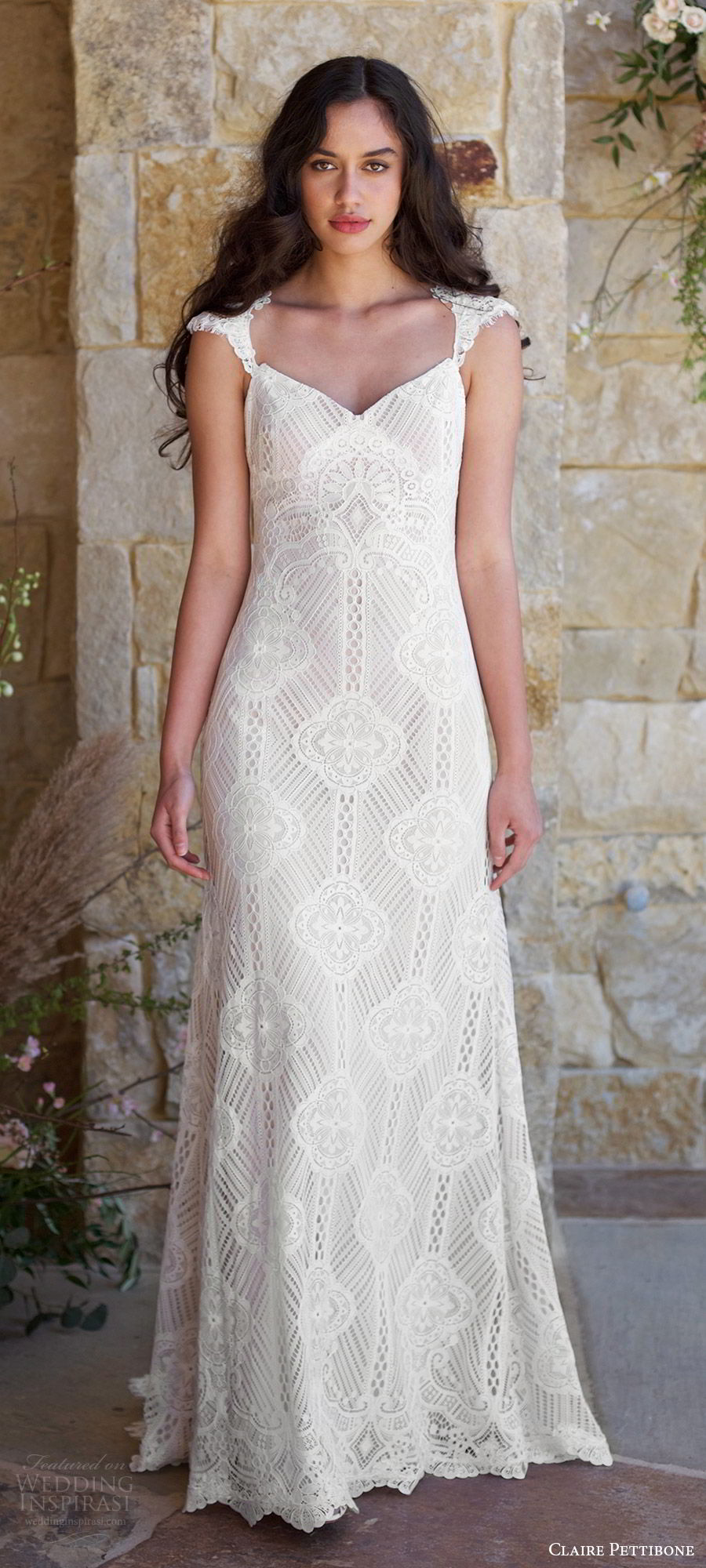 claire pettibone spring 2018 bridal cap sleeve sweetheart lace trumpet wedding dress (calistoga) mv illusion back train boho romantic