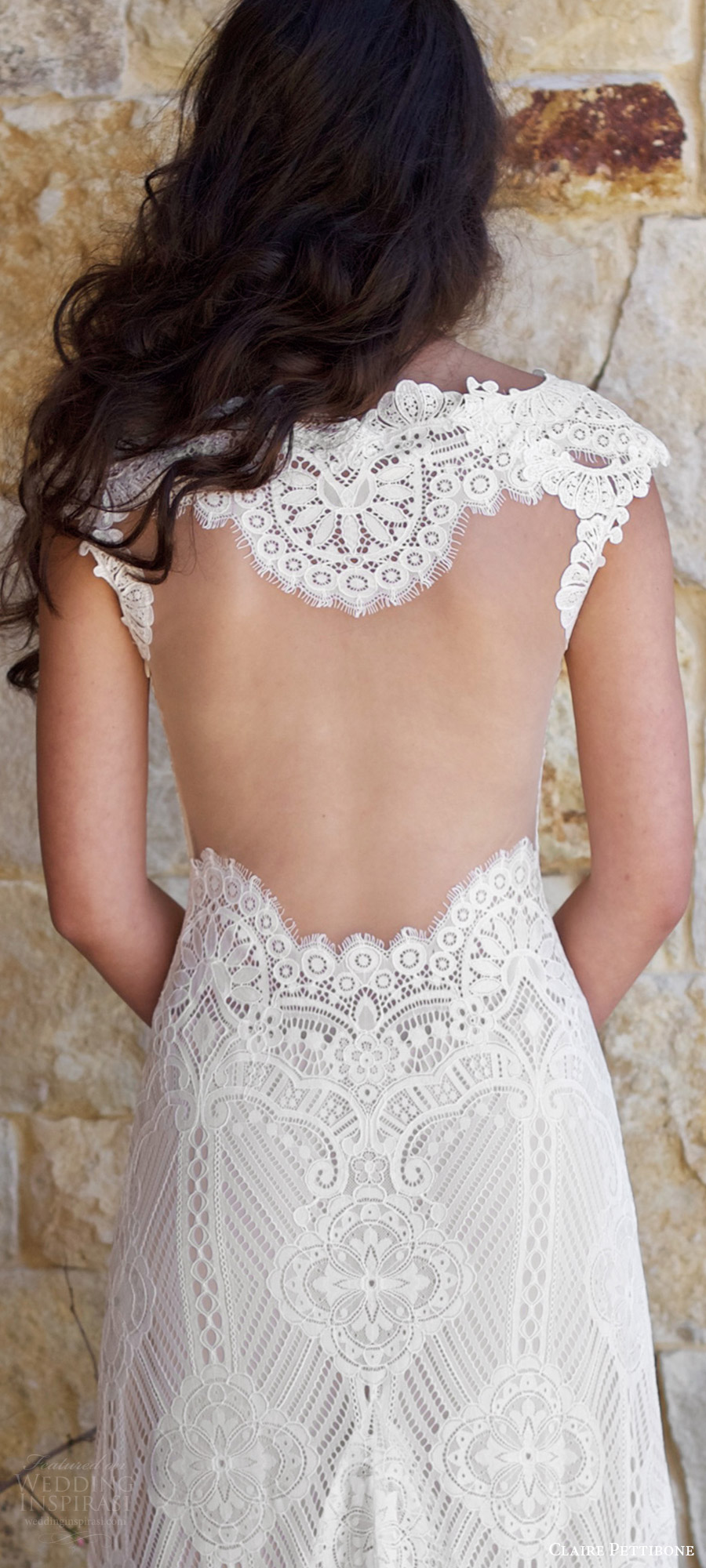 claire pettibone spring 2018 bridal cap sleeve sweetheart lace trumpet wedding dress (calistoga) zbv illusion back train boho romantic