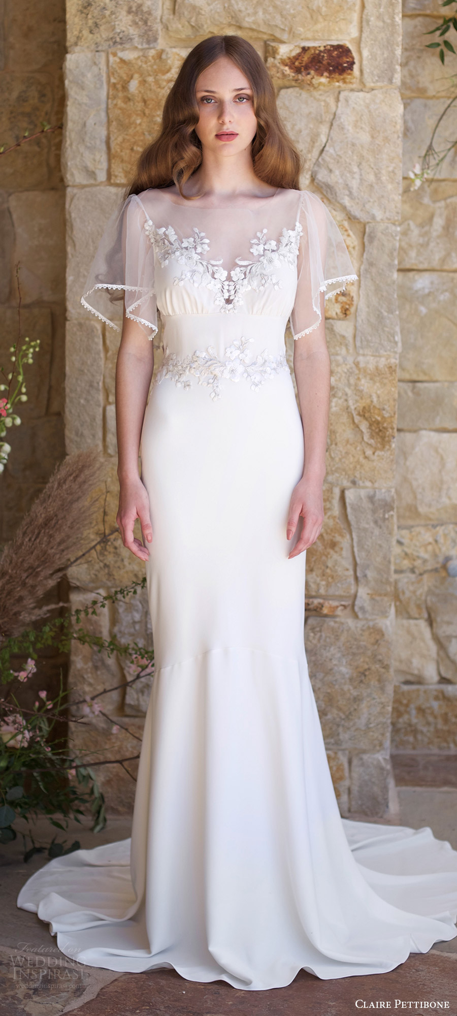 claire pettibone spring 2018 bridal illusion flutter sleeves sheer bateau neck embroidered bodice sheath wedding dress (merlot) mv train boho romantic