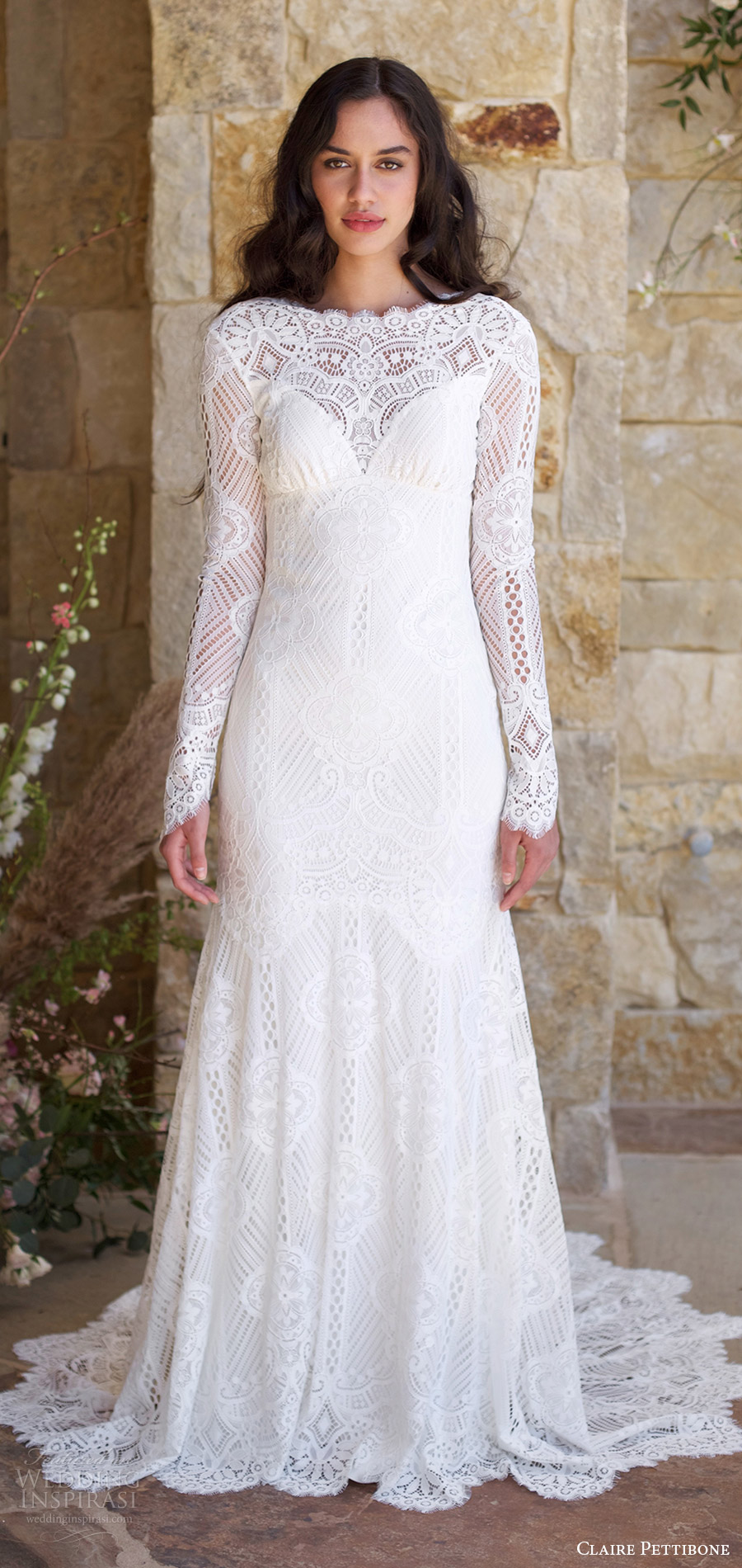 claire pettibone spring 2018 bridal long bell bateau neck lace trumpet wedding dress (shenandoah) mv keyhole back long train boho romantic