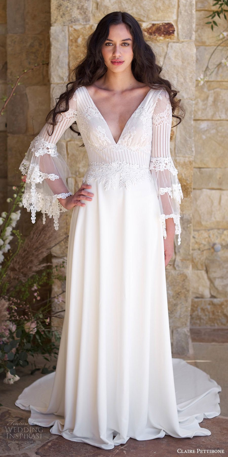 claire pettibone spring 2018 bridal long bell sleeves deep v neck lace bodice a line wedding dress (sauvignon) mv boho romantic long train