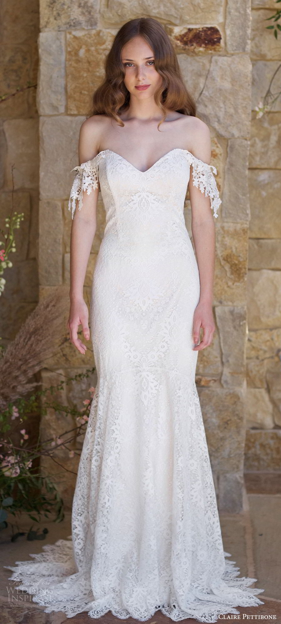 claire pettibone spring 2018 bridal off shoulder sweetheart lace mermaid wedding dress (bordeaux) mv train boho romantic