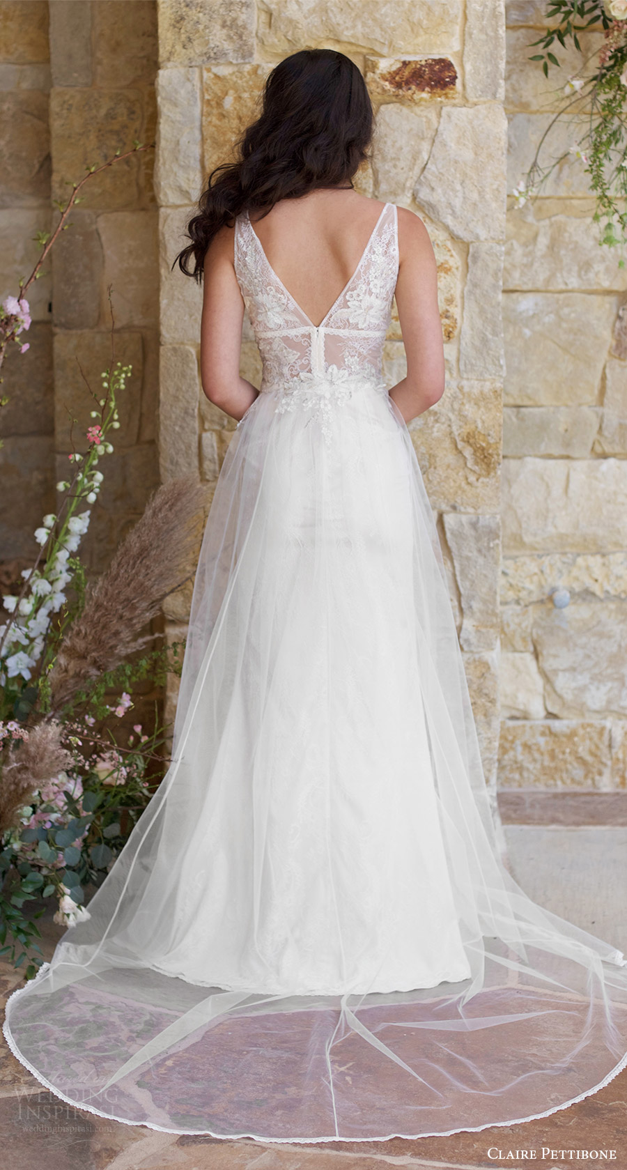 claire pettibone spring 2018 bridal sleeveless deep v neck straps lace bodice a line wedding dress (champagne) bv romantic long train