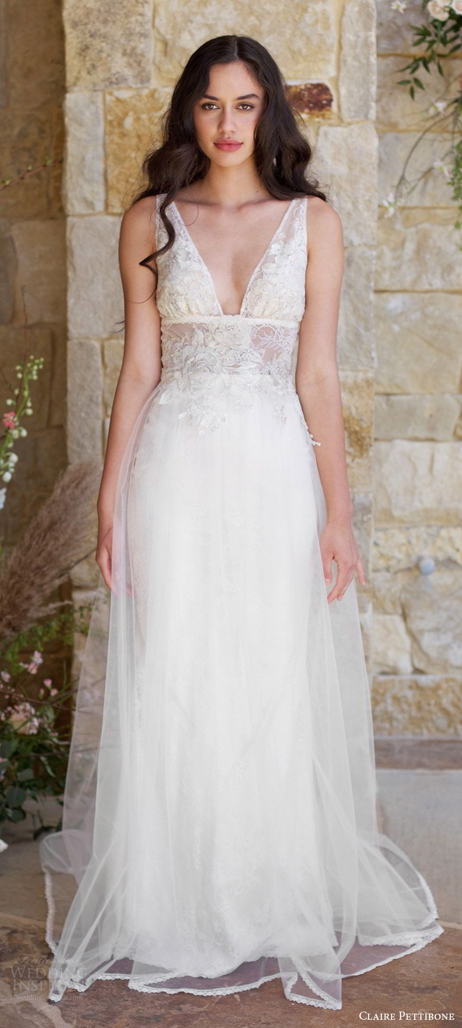 claire pettibone spring 2018 bridal sleeveless deep v neck straps lace bodice a line wedding dress (champagne) mv romantic long train