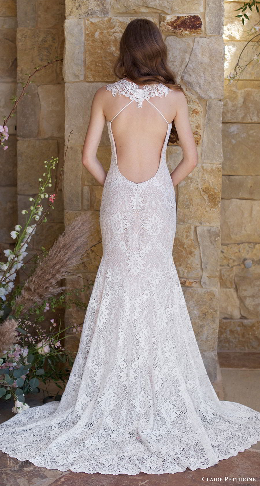 claire pettibone spring 2018 bridal sleeveless lace straps sweetheart lace mermaid wedding dress ( saratoga) bv open back train boho romantic