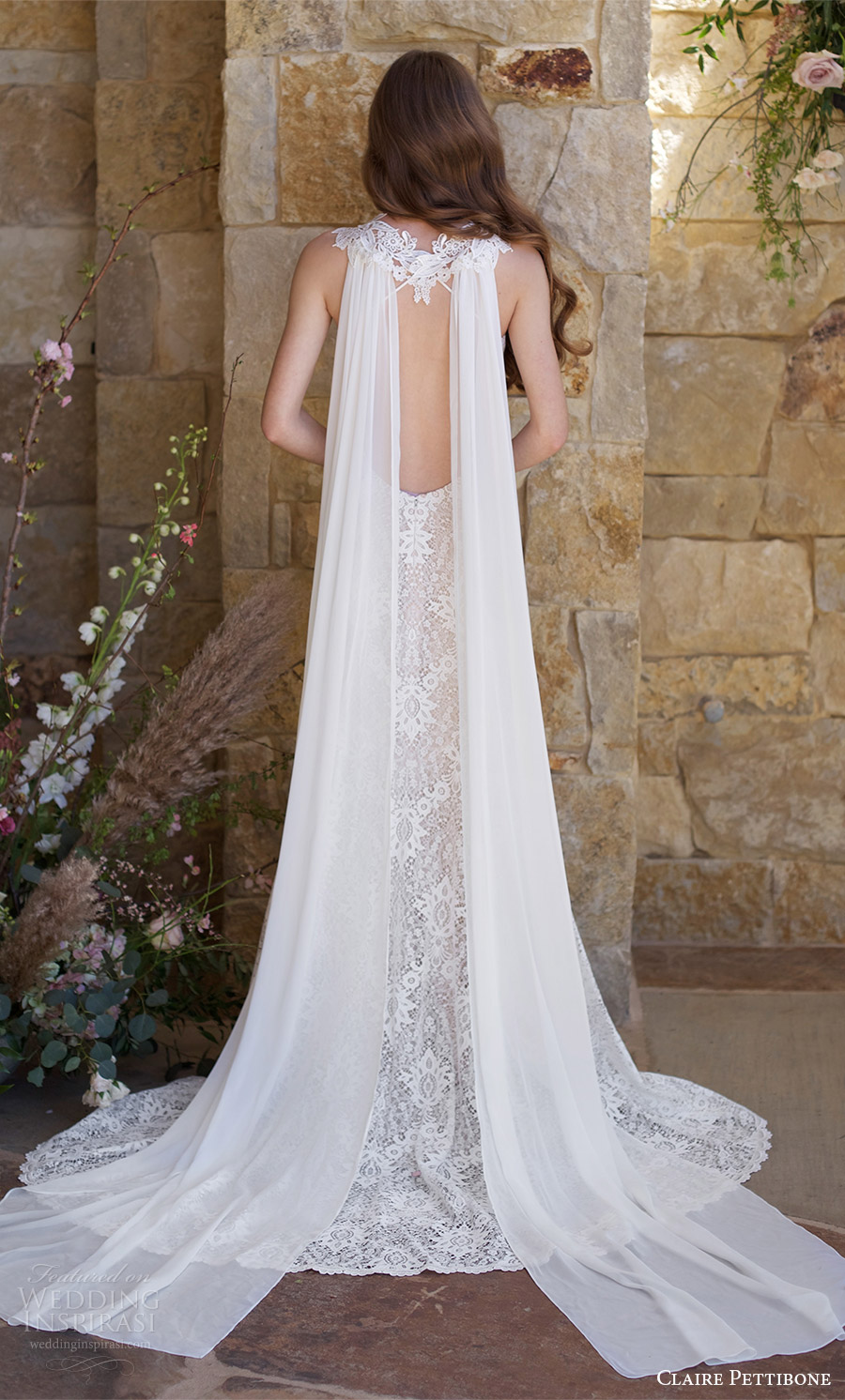 claire pettibone spring 2018 bridal sleeveless lace straps sweetheart lace mermaid wedding dress ( saratoga) bv open back train cape boho romantic
