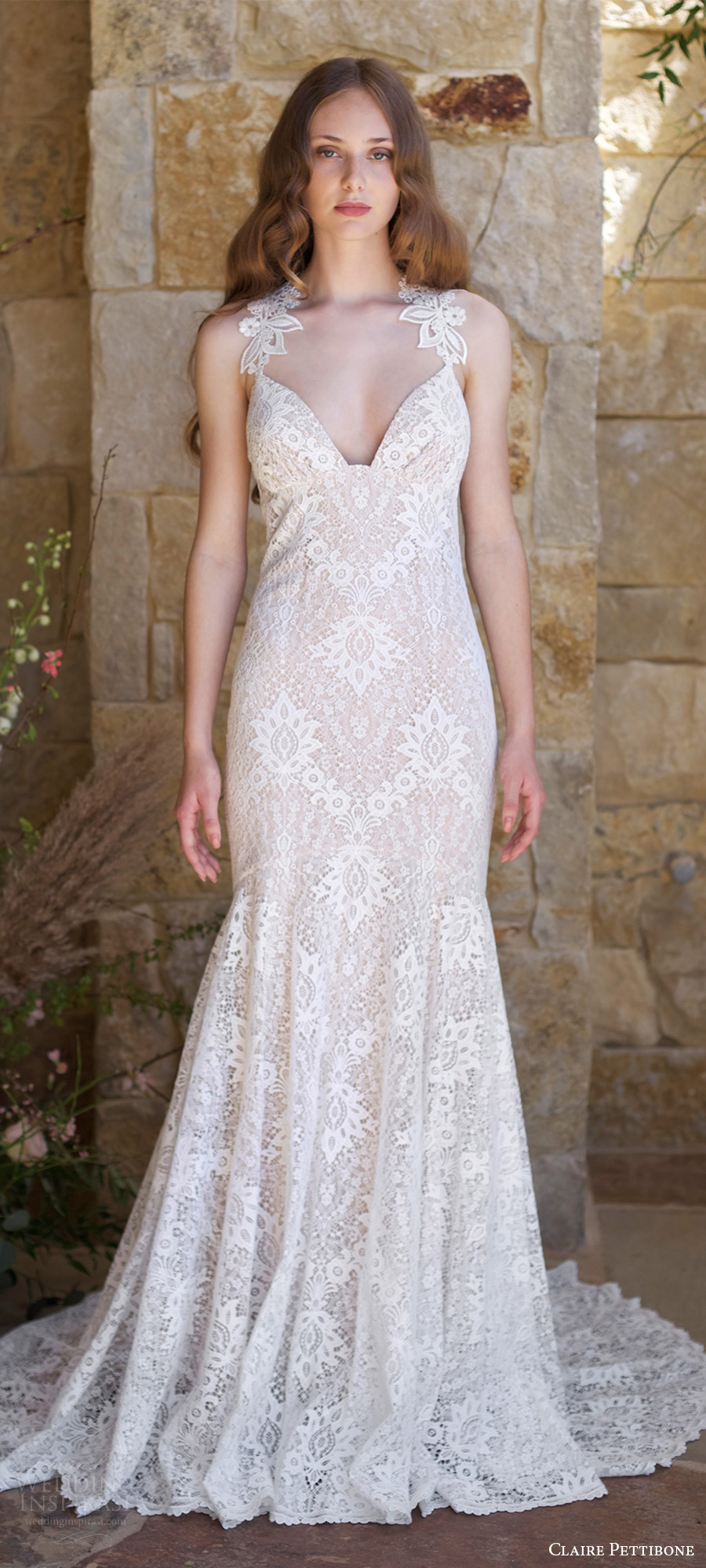 claire pettibone spring 2018 bridal sleeveless lace straps sweetheart lace mermaid wedding dress ( saratoga) mv open back train boho romantic