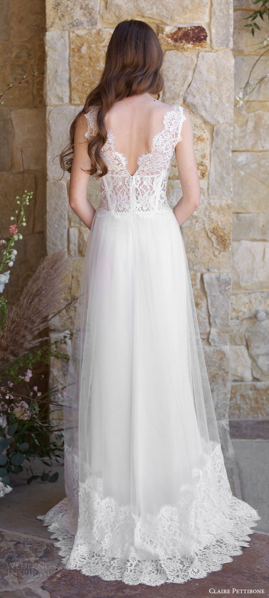 claire pettibone spring 2018 bridal sleeveless thick straps v neck lace bodice lace hem a line wedding dress (chardonnay) bv sheer v back boho romantic short rain