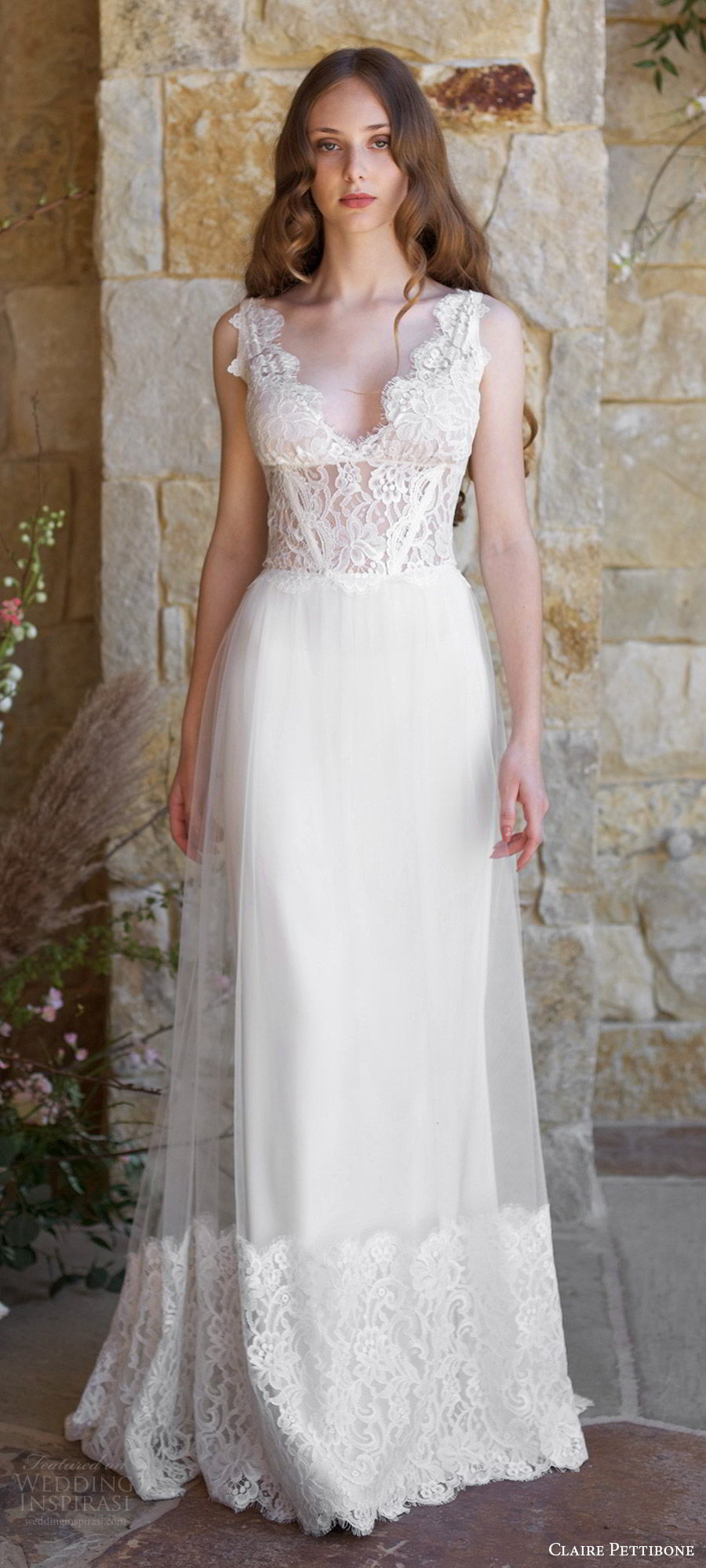 claire pettibone spring 2018 bridal sleeveless thick straps v neck lace bodice lace hem a line wedding dress (chardonnay) mv v back boho romantic short rain