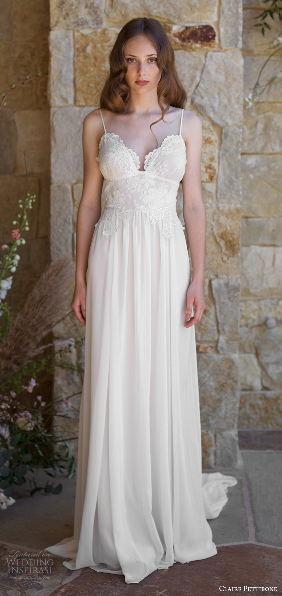 43b33b63e88 claire pettibone spring 2018 bridal sleeveless thin straps sweetheart lace  bodice a line wedding dress (