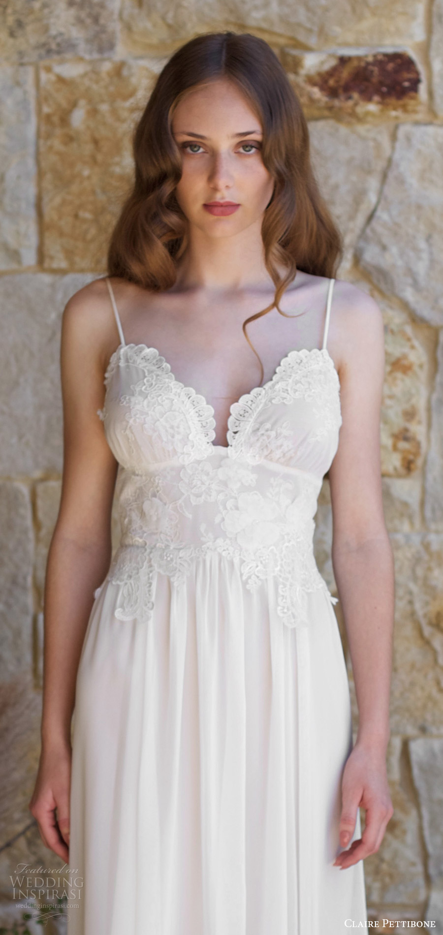claire pettibone spring 2018 bridal sleeveless thin straps sweetheart lace bodice a line wedding dress (zinfandel) zv low back train boho romantic
