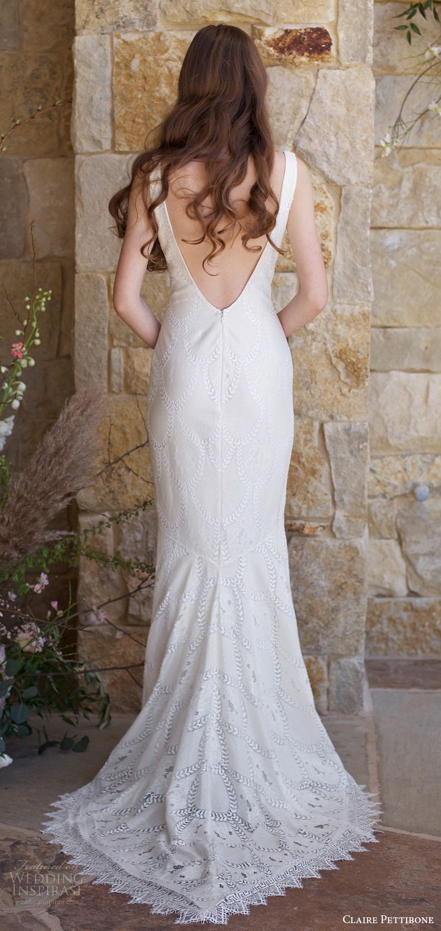 claire pettibone spring 2018 bridal sleeveless v neck thick straps lace mermaid wedidng dress (toscana) bv boho romantic short train