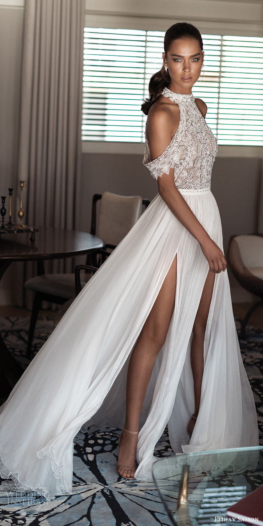c7fa9046534 elihav sasson spring 2018 bridal high neck cold shoulder drape sleeves  beaded bodice slit skirt a