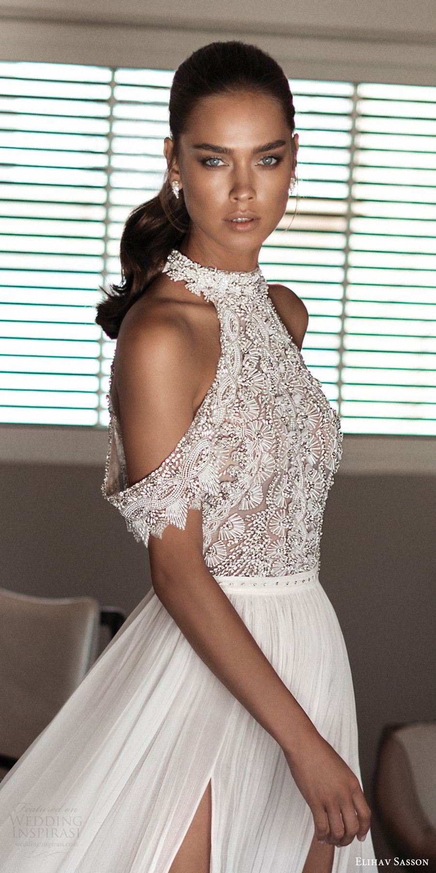 elihav sasson spring 2018 bridal high neck cold shoulder drape sleeves beaded bodice slit skirt a line wedding dress (vj 005) zv modern