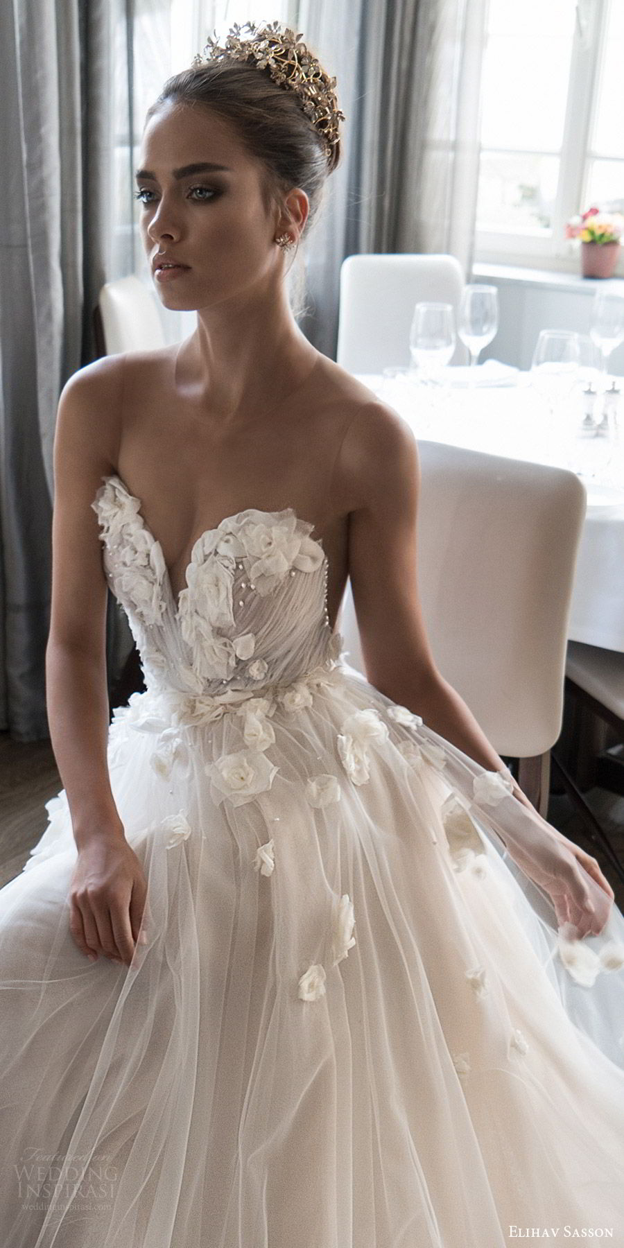 elihav sasson spring 2018 bridal sleeveless illusion jewel sweetheart embellished ruched bodice tulle ball gown wedding dress (vj 007) zv sweep train romantic princess