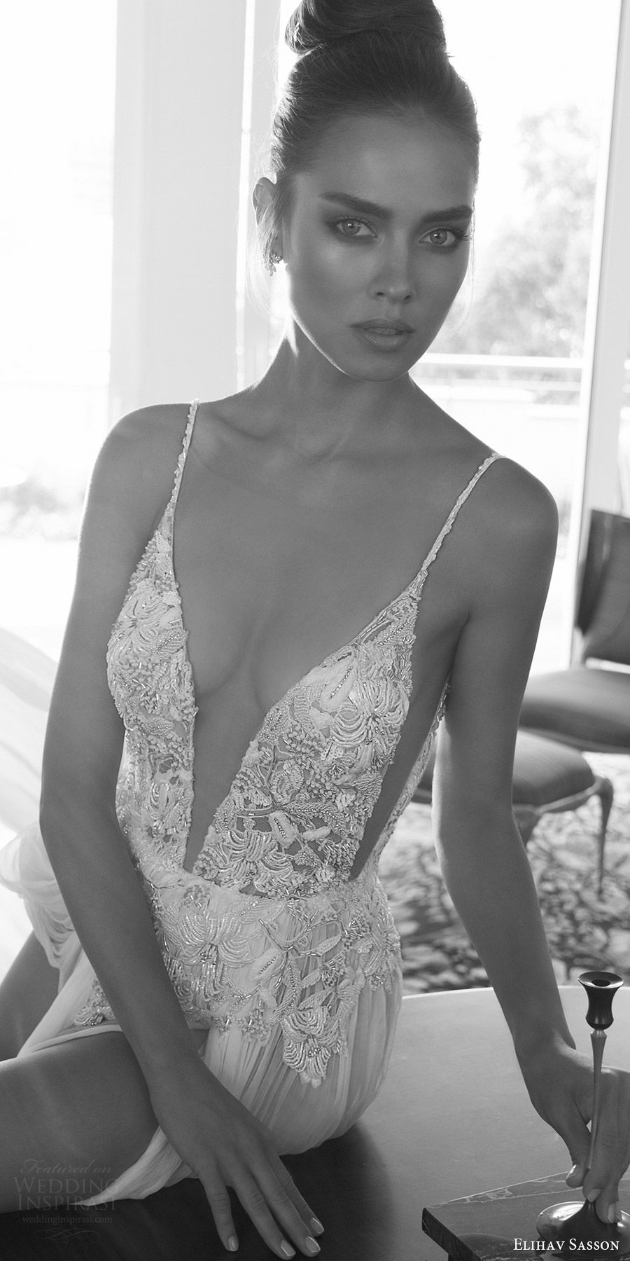 elihav sasson spring 2018 bridal sleeveless spaghetti straps deep v neck sheer skirt a line wedding dress (vj 009) fv sexy glam