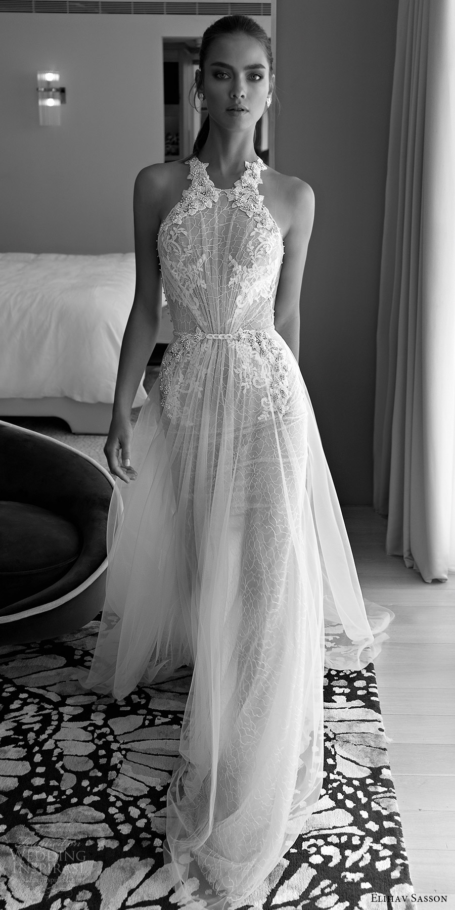 elihav sasson spring 2018 halter embellished ruched bodice lace sheath a line wedding dress (vj 016) mv sheer back glam