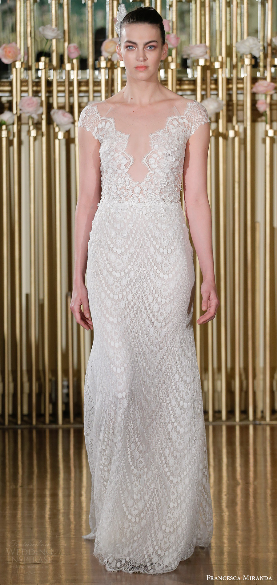 francesca miranda spring 2018 bridal cap sleeves deep v neck lace trumpet wedding dress (adrienne) mv elegant