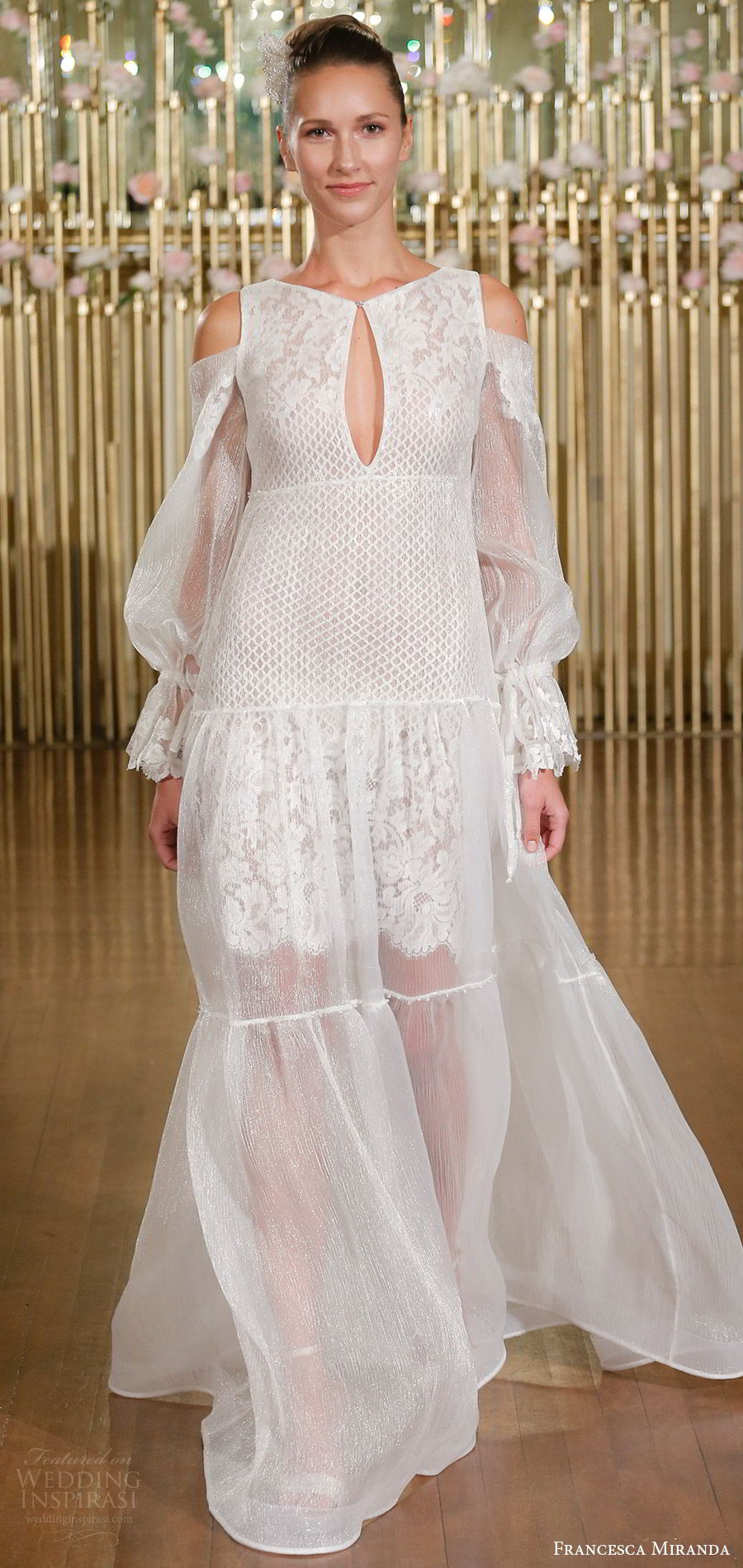 francesca miranda spring 2018 bridal cold shoulder long poet sleeves jewel neck keyhole lace a line wedding dress (geraldine) mv bohemian