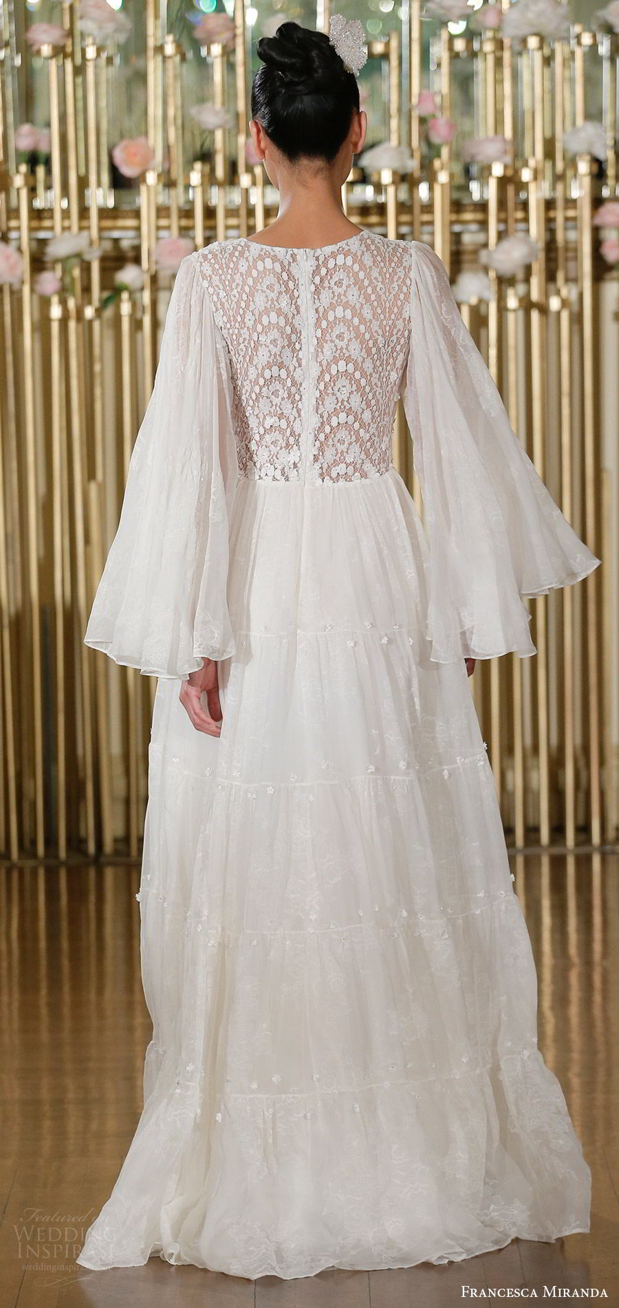 francesca miranda spring 2018 bridal illusion long funnel sleeves v neck lace bodice a line wedding dress (juliette) bv sheer back bohemian