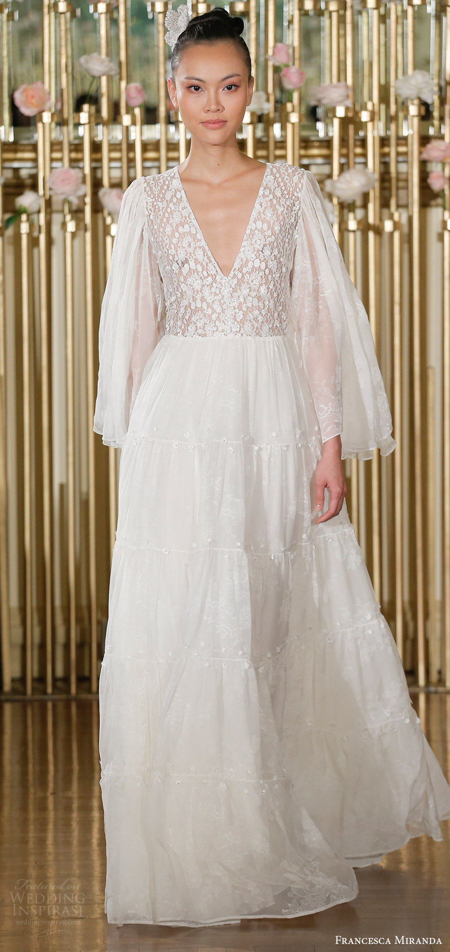francesca miranda spring 2018 bridal illusion long funnel sleeves v neck lace bodice a line wedding dress (juliette) mv bohemian