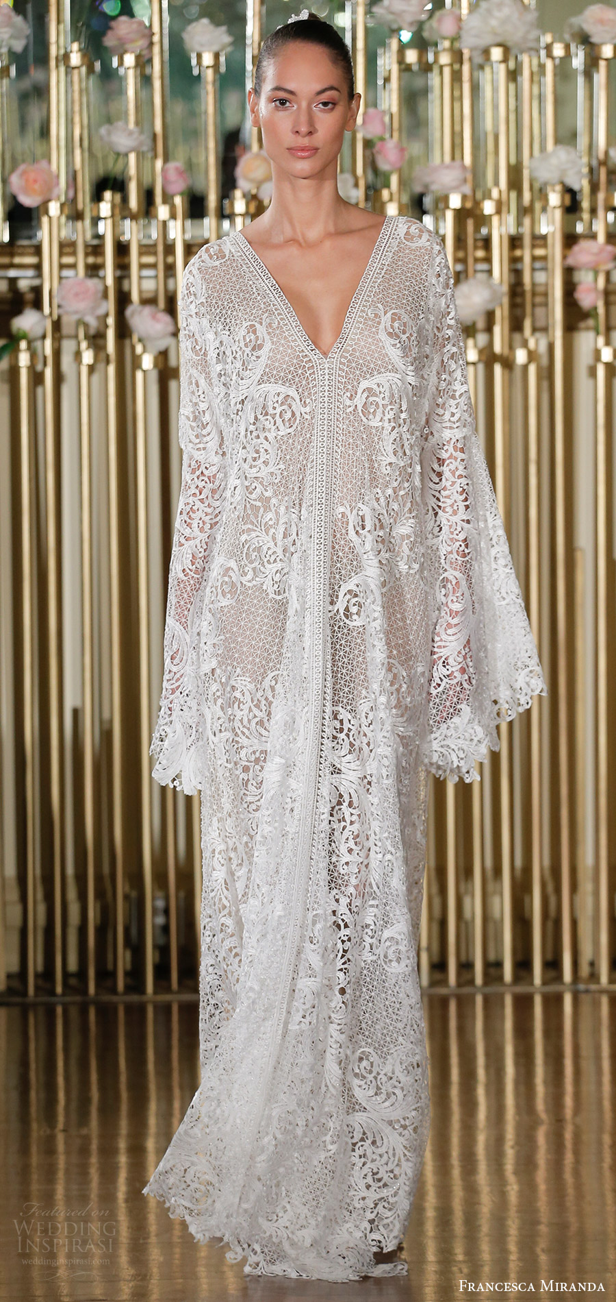 francesca miranda spring 2018 bridal long sleeves beaded lace v neck kaftan caftan wedding dress(tabatha) mv bohemian