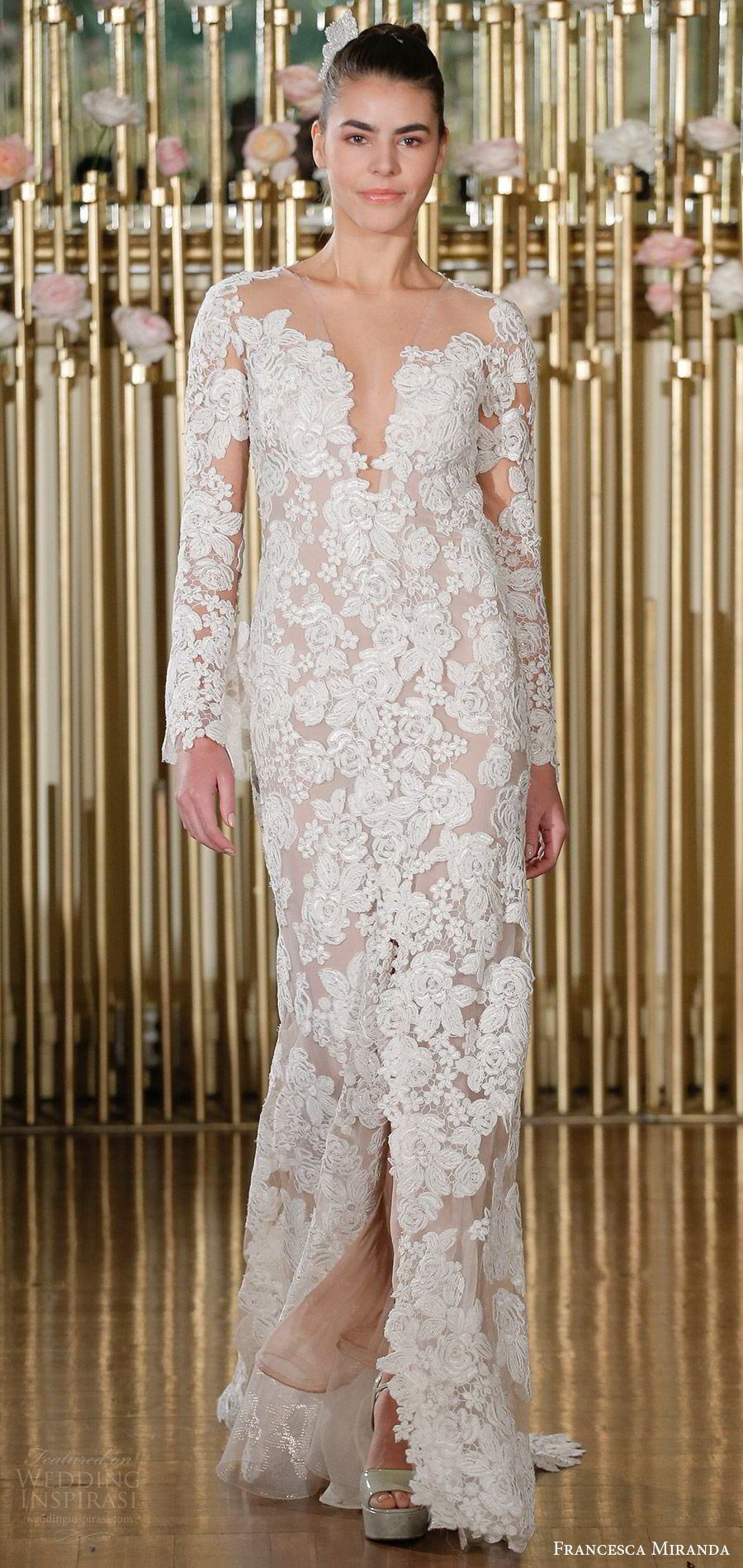 francesca miranda spring 2018 bridal long sleeves deep v neck lace blush sheath wedding dress (renee) mv keyhole back romantic elegant